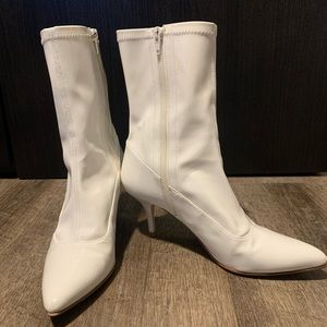 Stuart Weitzman white patent leather ankle boots